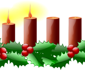 Two lighted candles for the second Sunday of Advent.