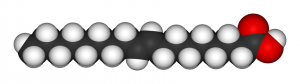 Three-dimensional illustration of elaidic acid molecule.