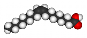 Three-dimensional illustration of oleic acid molecule.